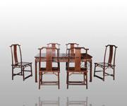 卷云纹长桌+双喜纹靠背椅七件套