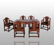 灵芝纹长桌+福庆纹扶手椅七件套
