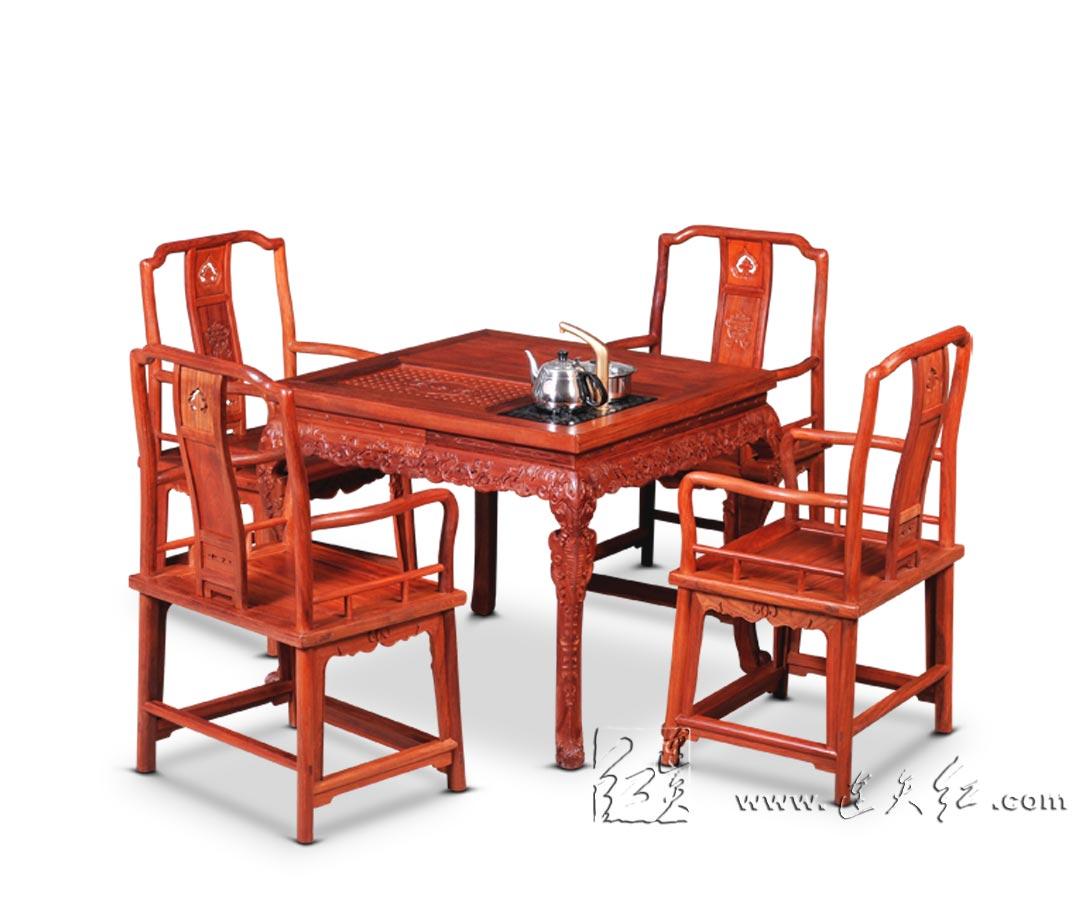 西洋卷草纹茶桌五件套