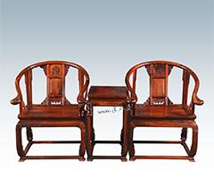 透雕卷草纹圈椅三件套(YJ06B)