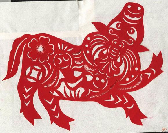 李秀芳剪纸 农耕文化之陕西牛文化剪纸