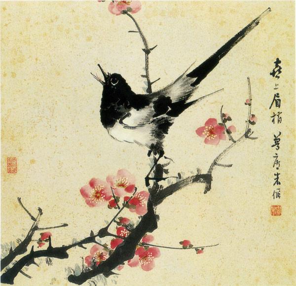 梅花喜鹊 图案贴图
