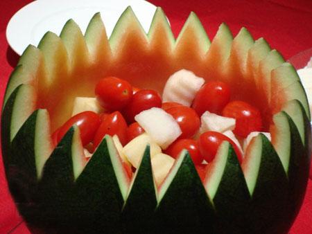 水果拼盘做法图片 水果拼盘西瓜花样切法,ktv水果拼盘西瓜切