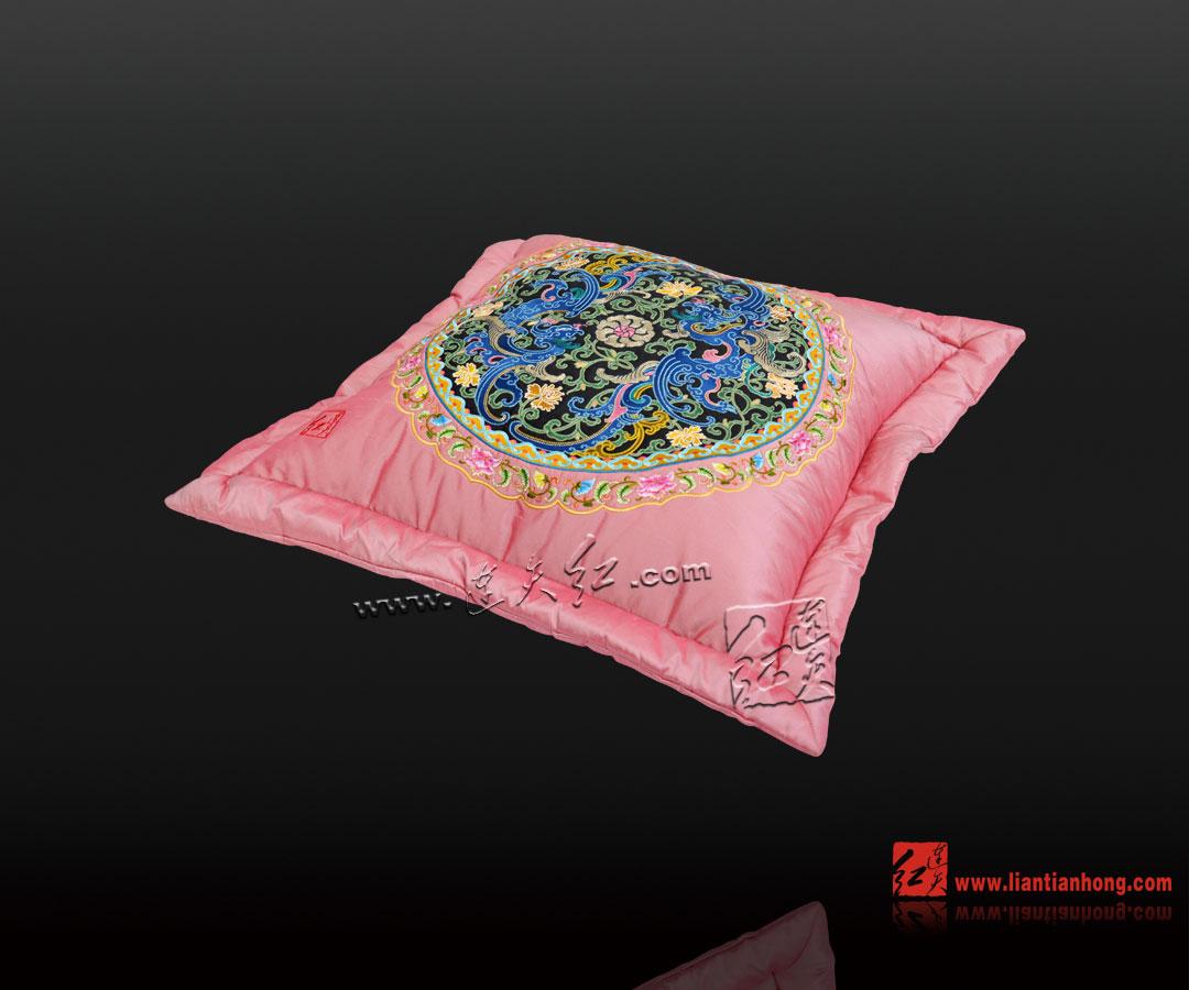 抱枕珐琅彩系列-双凤纹(粉)