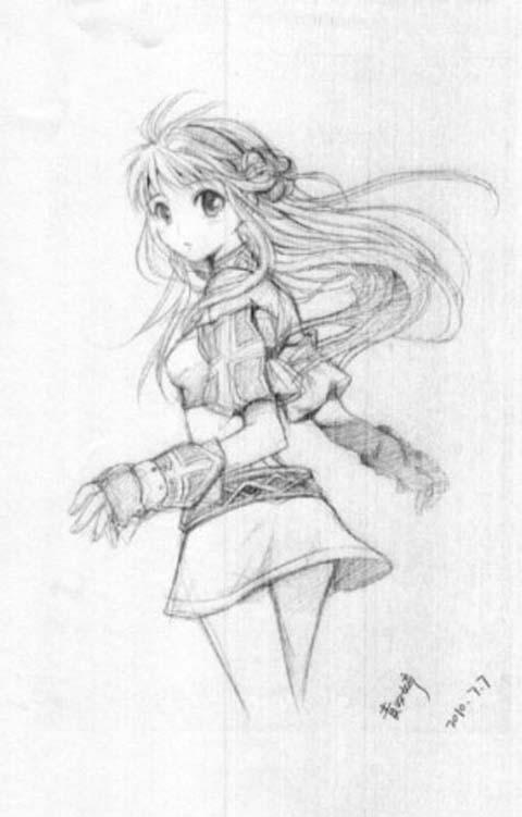 动漫少女铅笔画 少女铅笔画 蔷薇少女铅笔画 q版动漫女生铅笔画