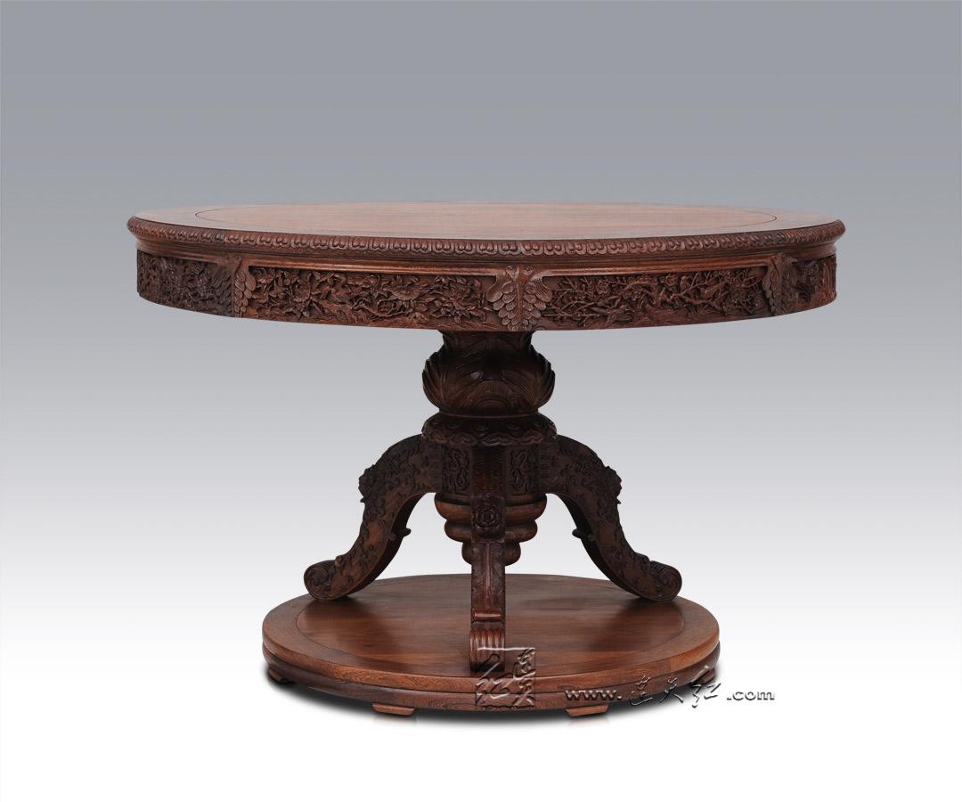 西洋花坐墩+圆桌(花鸟)七件套