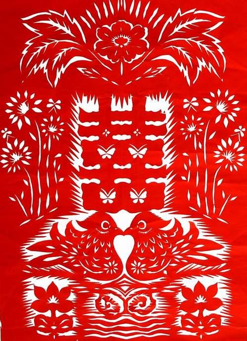 图案 铜陵/剪纸图案:鸳鸯喜字剪纸