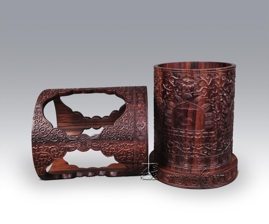 雕花灯笼式置物桶-实用类-连天红(福建)家具有限公司