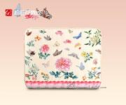 坐垫粉彩花蝶纹