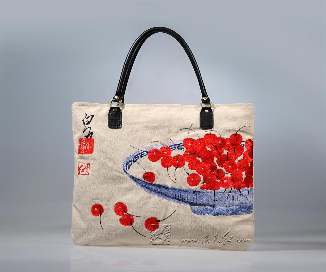 白石-樱桃帆布手提包