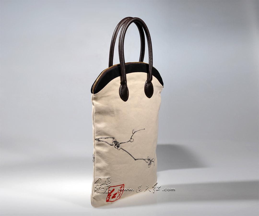 梅瓶帆布手提包