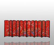 玉堂富贵12围屏(红)