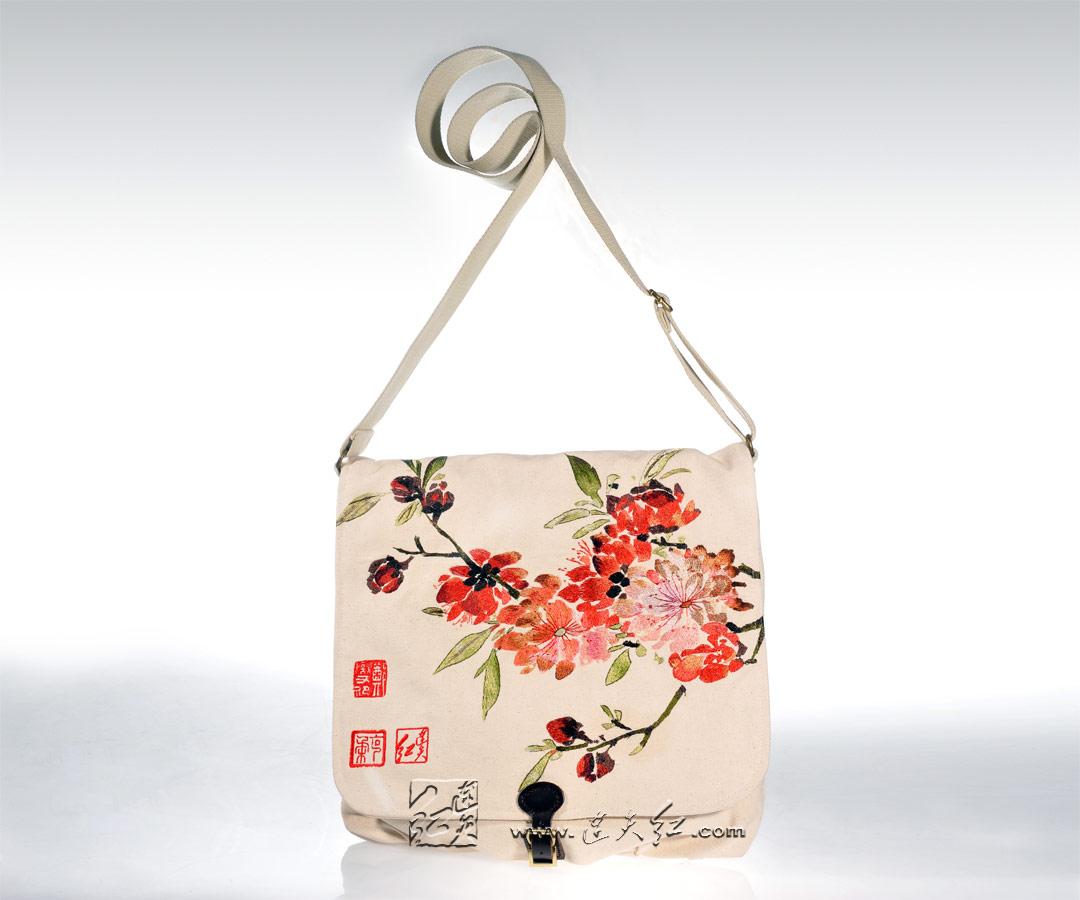 折枝桃花帆布包(大)