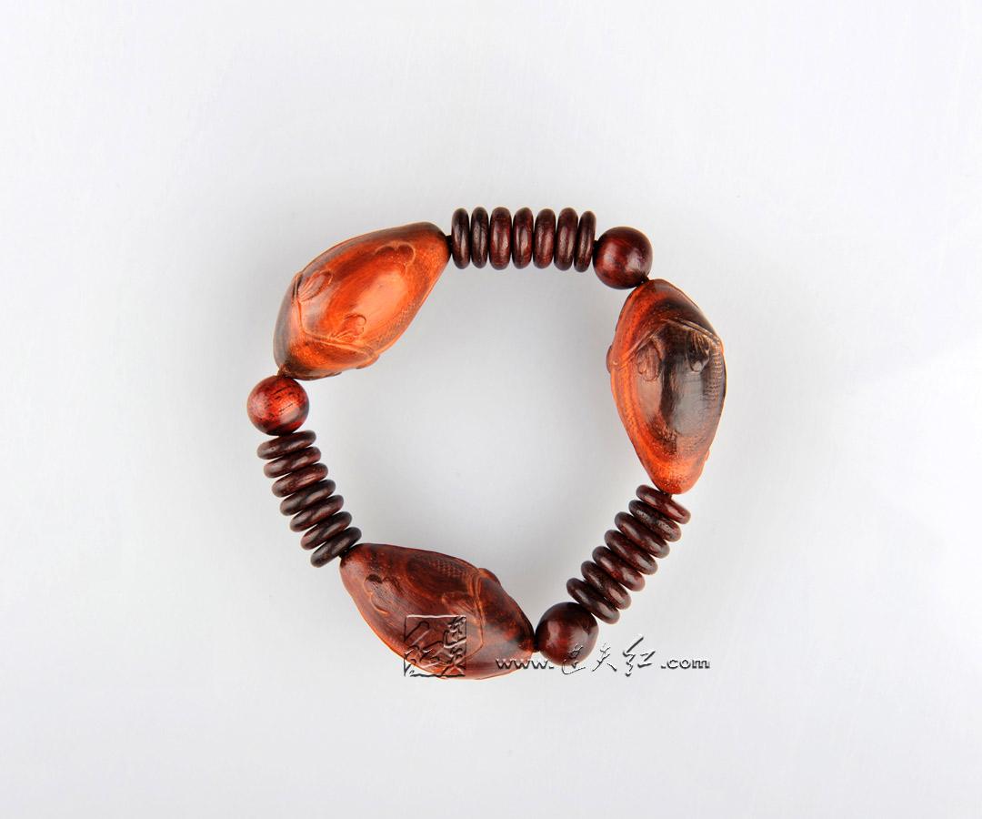 老挝红酸枝鳜鱼手链