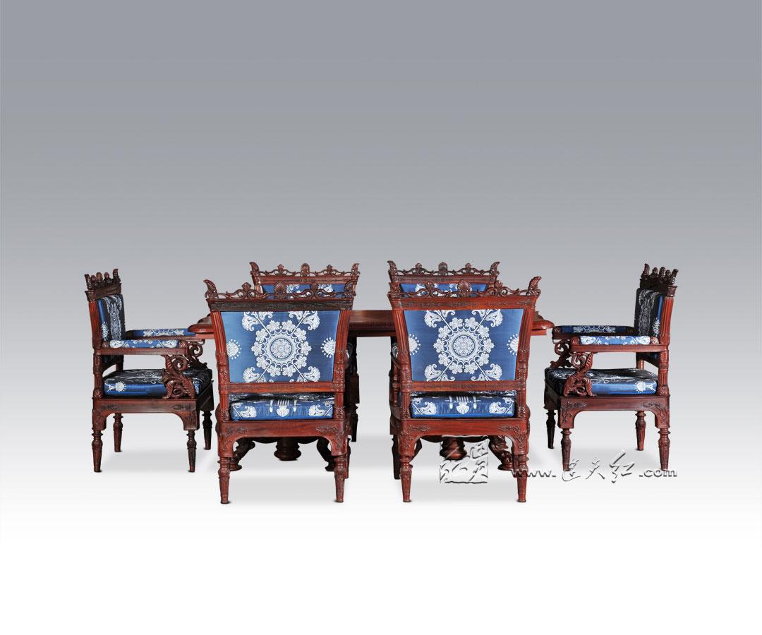 皇家尚品长餐桌七件套