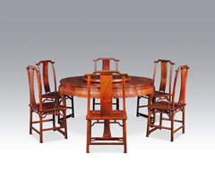 西番莲纹圆桌+双喜纹靠背椅七件套