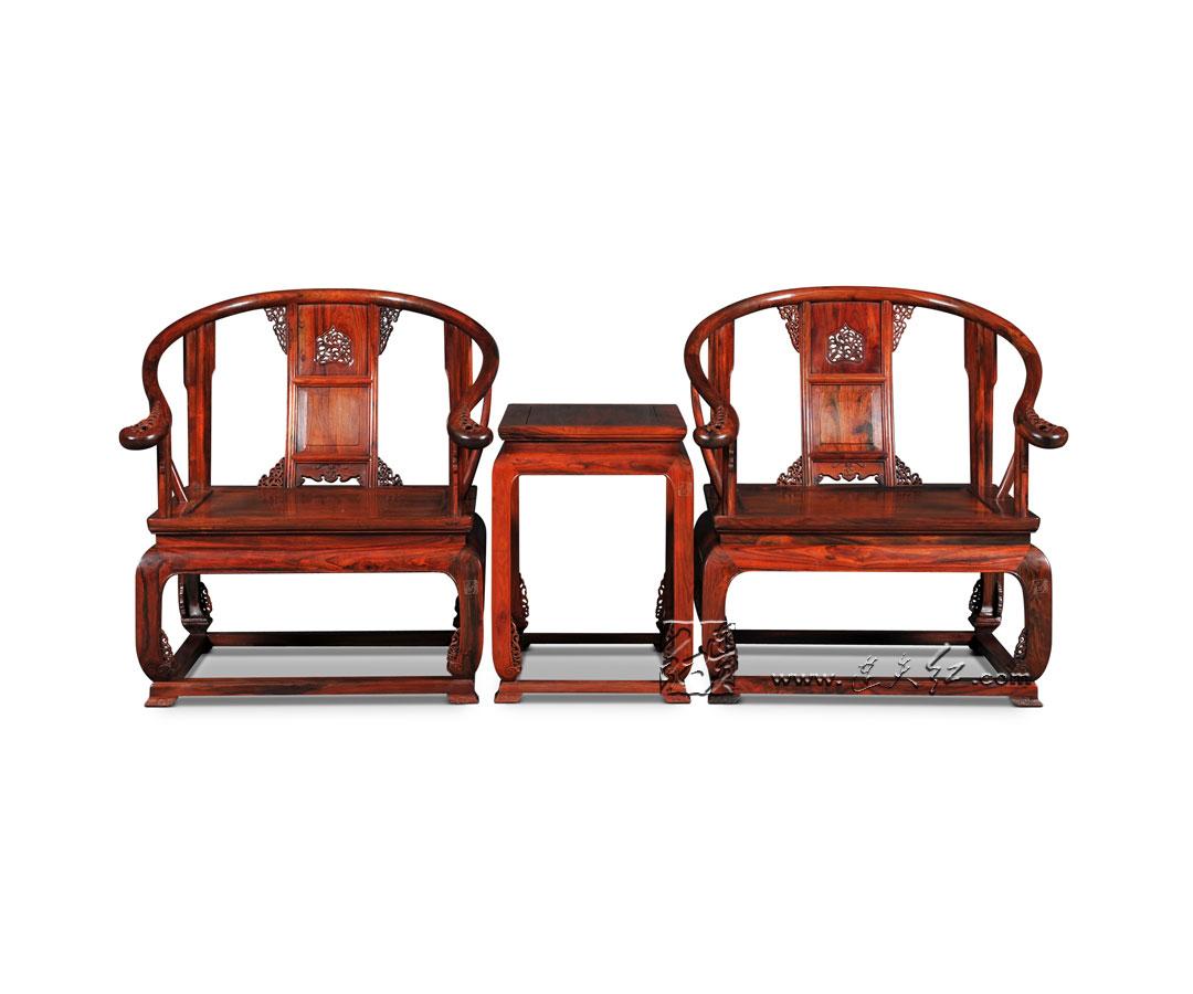 透雕卷草纹圈椅+卷草纹小茶几三件套