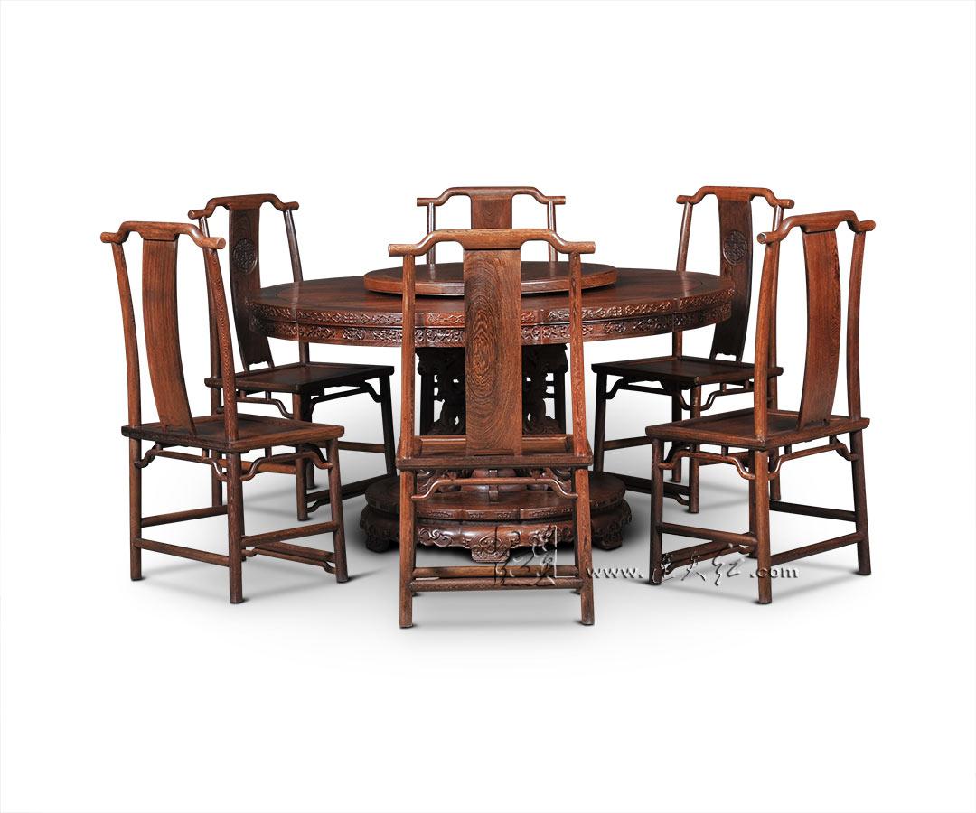 花卉纹葵花式桌七件套