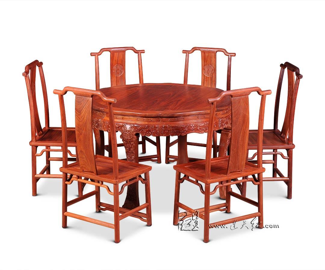 西番莲纹圆桌七件套