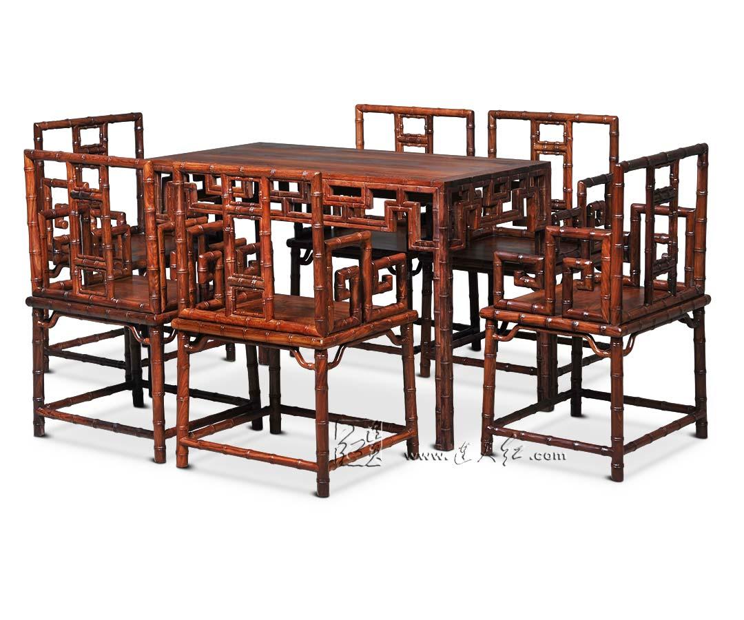 竹节纹茶桌七件套