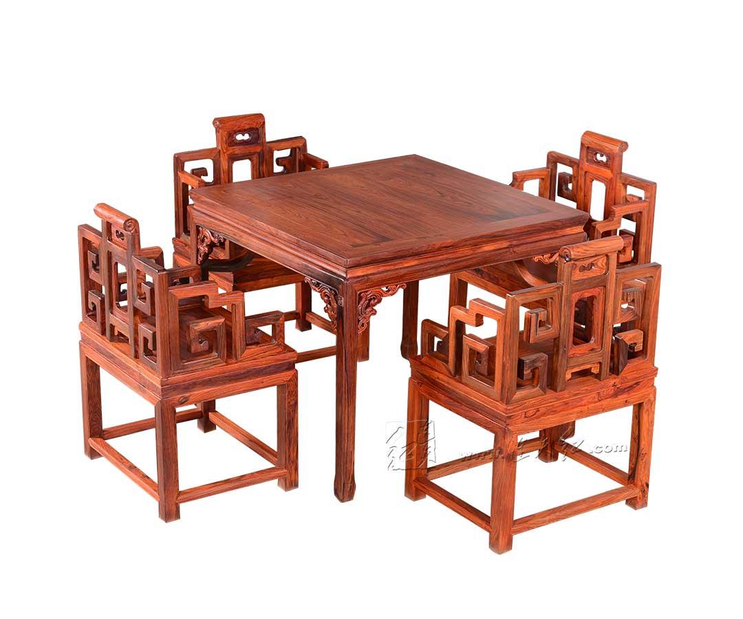 螭纹方桌五件套
